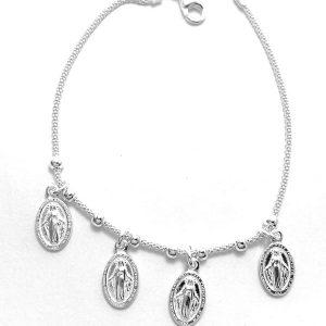 Pulsera plata colgantes vírgenes Cod:0410-1