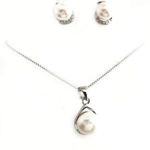 Juego de perla en plata Cod: 0801-1